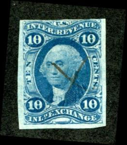 U.S. R36a used, 10c Inland Exchange, imperf, F-VF