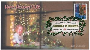 2016, Holiday Windows, Tree, Digital Color Postmark, FDC, Christmas, 16-320