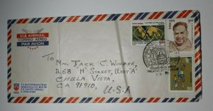 Hong Kong Airmail Cover To USA Philatellic Bureau Fancy Cancel Block Used 1991