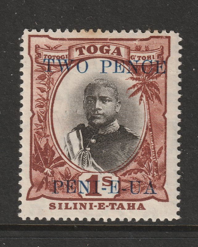 Tonga a 2d on 1/- from 1923 MH