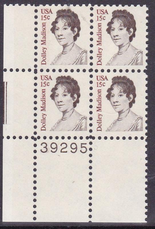 United States 1980 Dolly Madison Issue Plate Number Block VF/NH