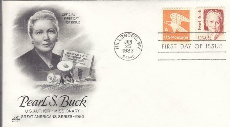 1983, Honoring Pearl Buck, Artcraft, FDC (D14695)