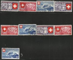 SWITZERLAND 247-255, USED, C/SET OF 4 STAMPS, NATIONAL EXPO OF 1939, ZURICH