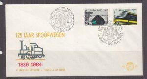 NETHERLANDS, 1964 Railway pair on First Day cover.