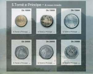 Sao Tome & Principe Coins on Stamps 2010 MNH Currency Numismatics 6v M/S