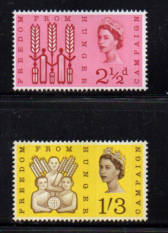Great Britain Sc 390p-19 1963 Freedom from Hunger Phosphor stamp set mint NH