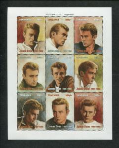 Tanzania Commemorative Souvenir Stamp Sheet - James Dean Hollywood Legend