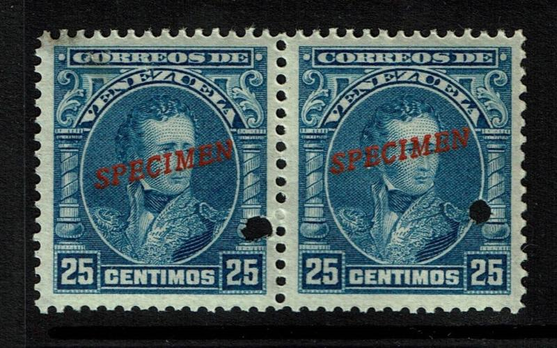 Venezuela 1904 25c deep ultra Specimen, Mint Never Hinged, pair, see note -S1422