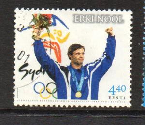 Estonia Sc 407 2001 Nool Olympic Decathlon stamp used