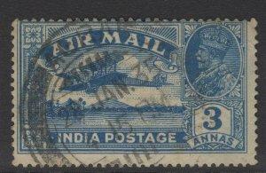 INDIA SG221 1929 3a BLUE USED