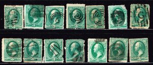 US STAMP 19TH USED 3C GREEN FANCY STAMP COLLECTION LOT #M3