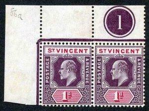 St Vincent SG86b 1d Wmk Mult Crown CA Plate Pair CHALKY PAPER U/M