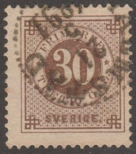Sweden Stamp, Scott#47, used, '30',  light brown,  #M536