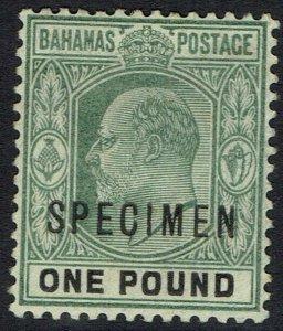 BAHAMAS 1902 KEVII 1 POUND SPECIMEN WMK CROWN CA