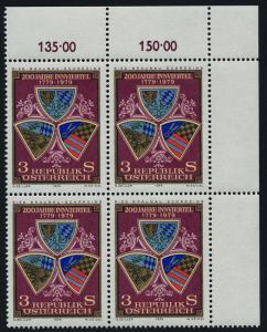 Austria 1123 TR Block MNH Crests, Ried, Scharding, Braunau