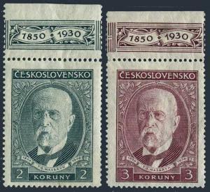 Czechoslovakia 175-176-tab,MNH.Mi 299-300. President Masaryk,80th birthday.1930.