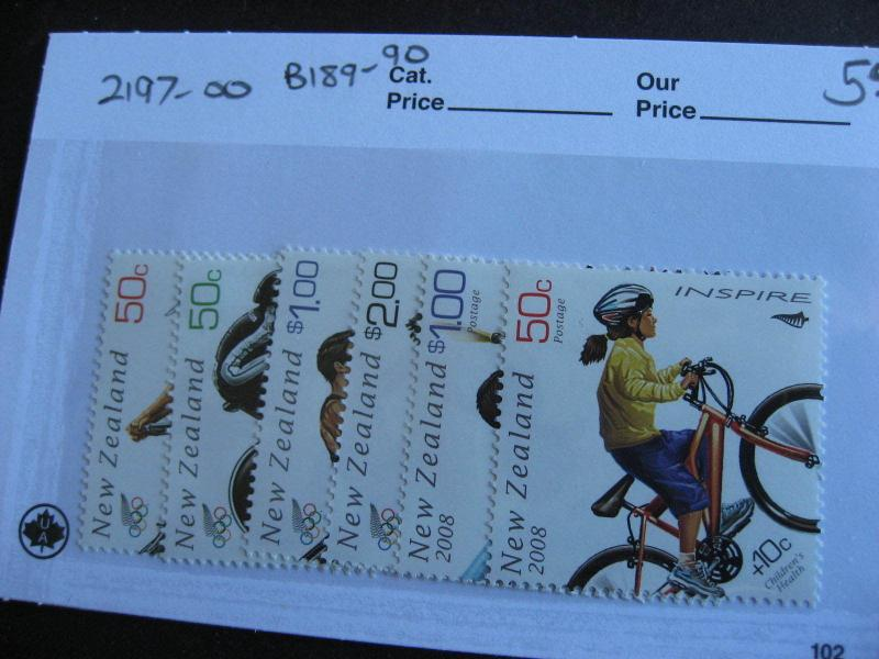 NEW ZEALAND 2008 Olympics set Sc 2197-200, B189-90 MNH
