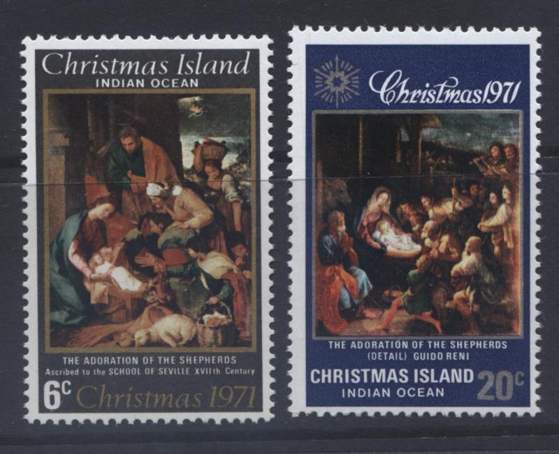 CHRISTMAS Is. -Scott 37-38 - Christmas -1971 - MNH -Set of 2 Stamps