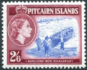 PITCAIRN ISLANDS-1957-63 2/6 Blue & Deep Lake Sg 28a UNMOUNTED MINT V28575