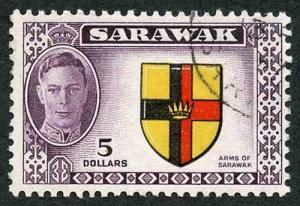 Sarawak SG185 KGVI 5 Dollars Fine used