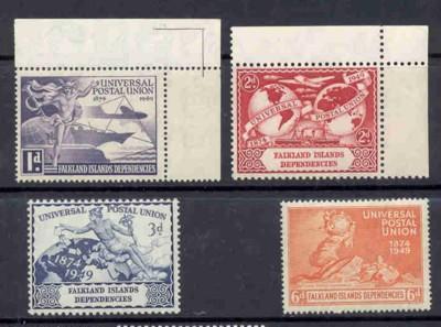 Falkland IS Dep Sc1L4-7 1949 UPU anniv stamp set mint