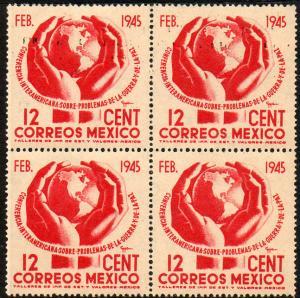 MEXICO 792, 12c Globe in Hands. Block of 4. Unused. (470)