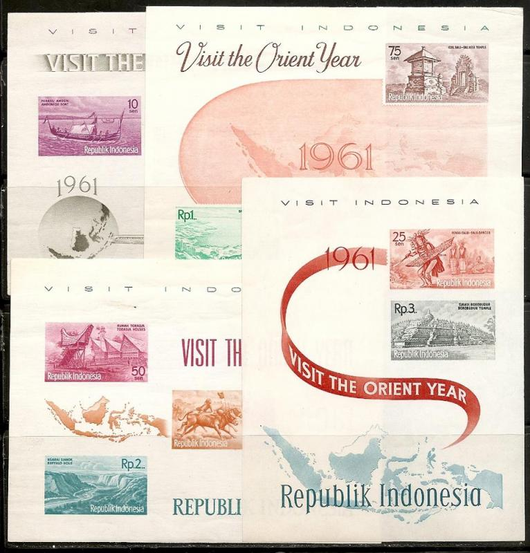 Indonesia 507-16 Note 1961 Tourism s.s. LH Wrinkles