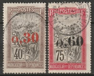 Madagascar 1921 Sc 125-6 used