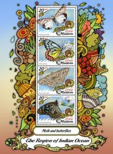 MALDIVES - 2017 - Indian Ocean Region : Moths, Butterflies - Perf 4v Sheet - MNH