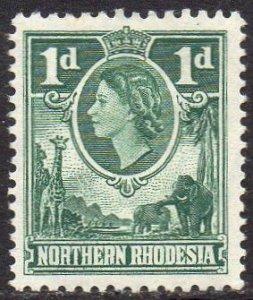 Northern Rhodesia 1953  1d bluish green MH