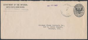 KLAMATH (INDIAN) AGENCY TO CHICAGO DEPT OF INTERIOR PENALTY COVER c1917 BR9942