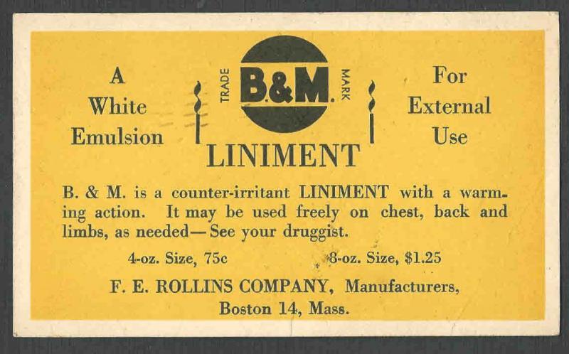 DATED 1945 PC BOSTON MA F E ROLLINS CO SELLS B & M LINIMENT