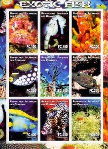 Comoro Islands 2000 EXOTIC FISH - MARINE LIFE Sheetlet (9) IMPERFORATED MNH