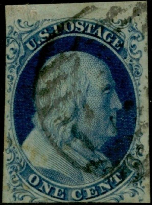 #9 VF USED 1¢ BLUE TYPE IV TOP ROW EXAMPLE CV $100.00 BQ303