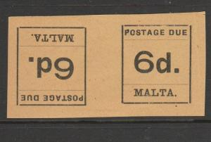 Malta 1925 postage Dues tete Beche pairs MM 6d SG D8a