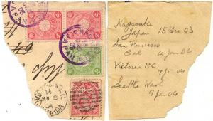 Japan to Canada Mailed 1903 Redirected With Canada 2c Edward in 1904