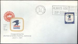 #1396 NC, Winston-Salem 7-1-71 USPS FDC