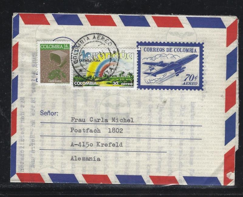 COLOMBIA  (PP0308B) .70 AIRPLANE AEROGRAMME UPRATED $14+$30   TO GERMANY