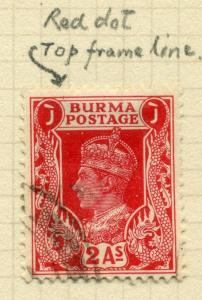 BURMA; 1938 GVI fine used MINOR PLATE FLAW VARIETY(Detailed in scan) on  2a.