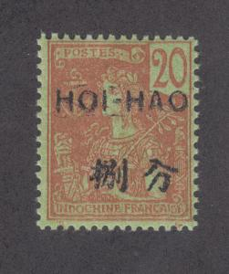 France, Hoi-Hao Sc 38 MNH. 1906 20c red on green w/ black ovpt