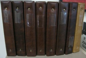 8, 1-1/2 BROWN 22 RING BINDERS, VERY GOOD CONDITION