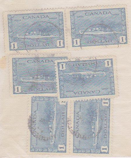 Canada USC #262 Used (6) 2 VF & 4 F Some CDS - 1942 $1 Destroyer