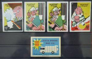 Match Box Labels! carton comic strip praha truck prague czechoslovakia GJ9