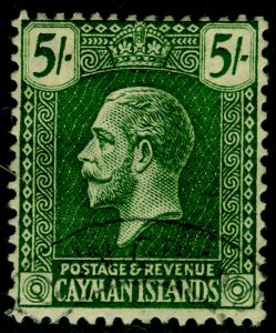 CAYMAN ISLANDS SG64, 5s yellow-green/pale yellow, VFU. Cat £70.