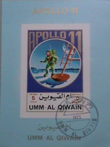 UMM AL QIWAIN AIRMAIL STAMP: 1973   FIRST MAN ON THE MOON APOLLO 11- CTO MNH S/S