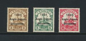 TOGO (BRITISH) 1914 3-10pf+HOLCOMBE CERT, VF MLH SG#H1-3 CAT£390 $500(SEE BELOW)