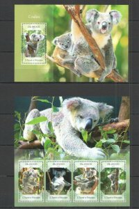 ST1686 2014 S. TOME & PRINCIPE ANIMALS FAUNA COALAS KB+BL MNH STAMPS