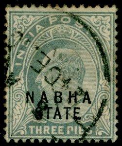 INDIA STATES SGO24, 3p pale grey, USED. Cat £42.