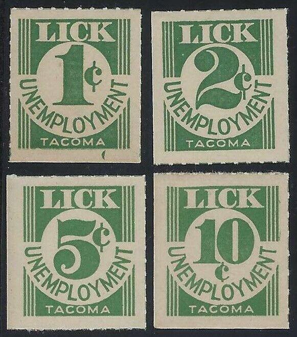 1930's LICK UNEMPLOYMENT Depression Scrip Cinderella Revenue 1,2,5,10c Set4 MNH
