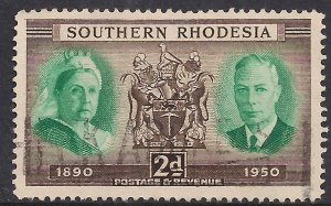 Southern Rhodesia 1950 KGV1 2d Victoria Arms & KGV1 used SG 70 ( 1050 )